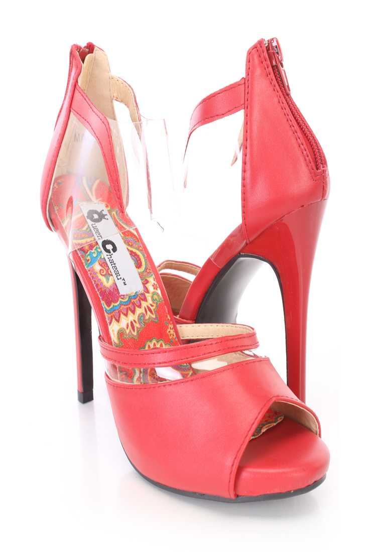 Red Clear Strap Peep Toe High Heels Faux Leather