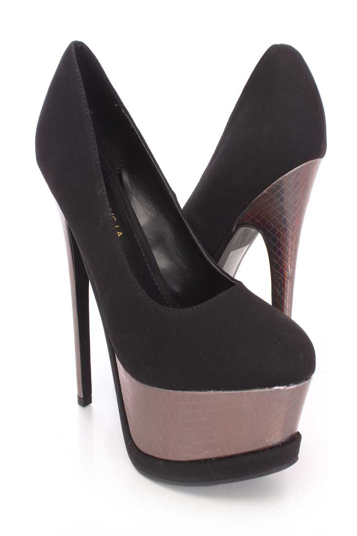 Black Holographic Platform High Heels Nubuck