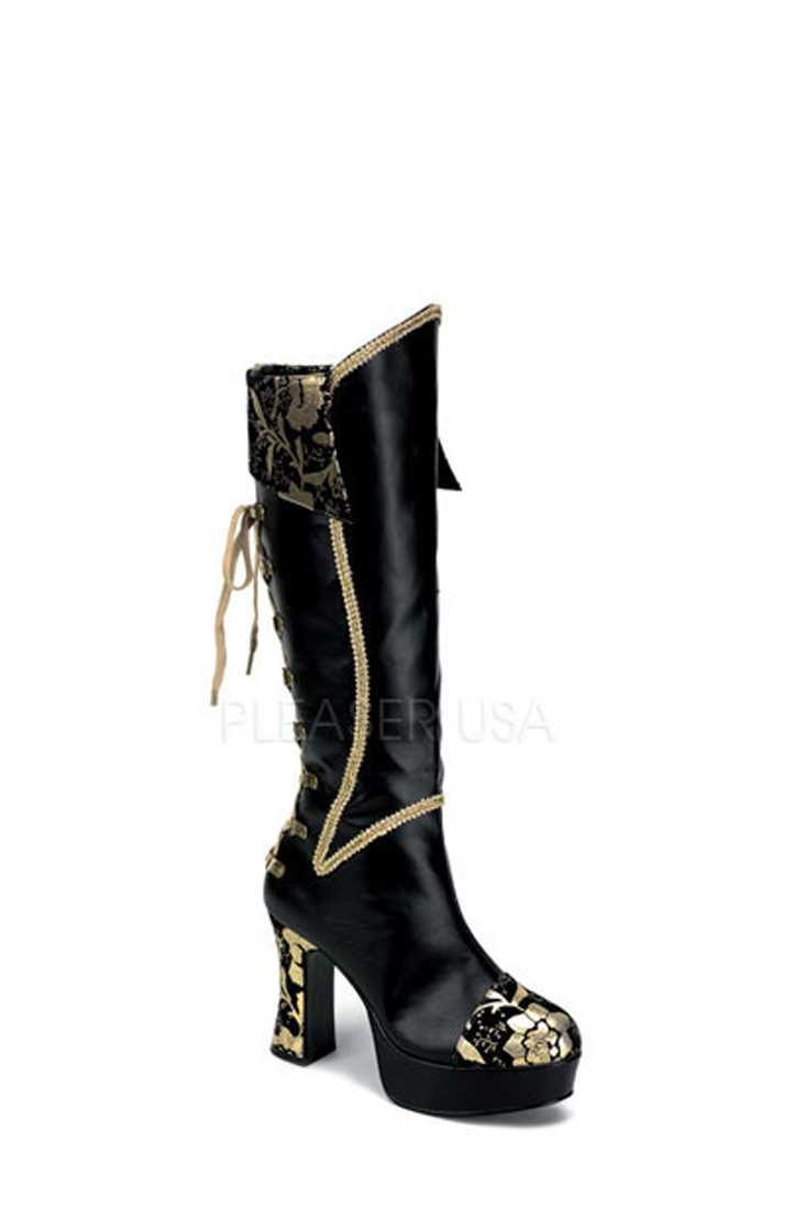 Black Gold Lace Up Corset Boots Faux Leather