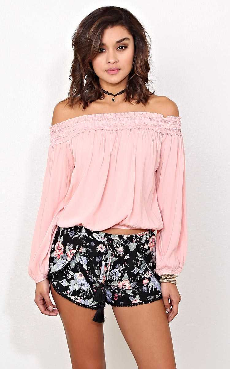 Blush Boho Illusion Woven Top - LGE - Blush in Size Large by Styles For Less