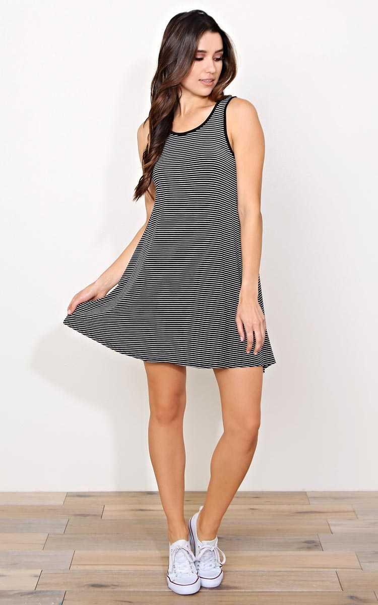 Set Sail Striped Dress - MED - Black/White in Size Medium by Styles For Less