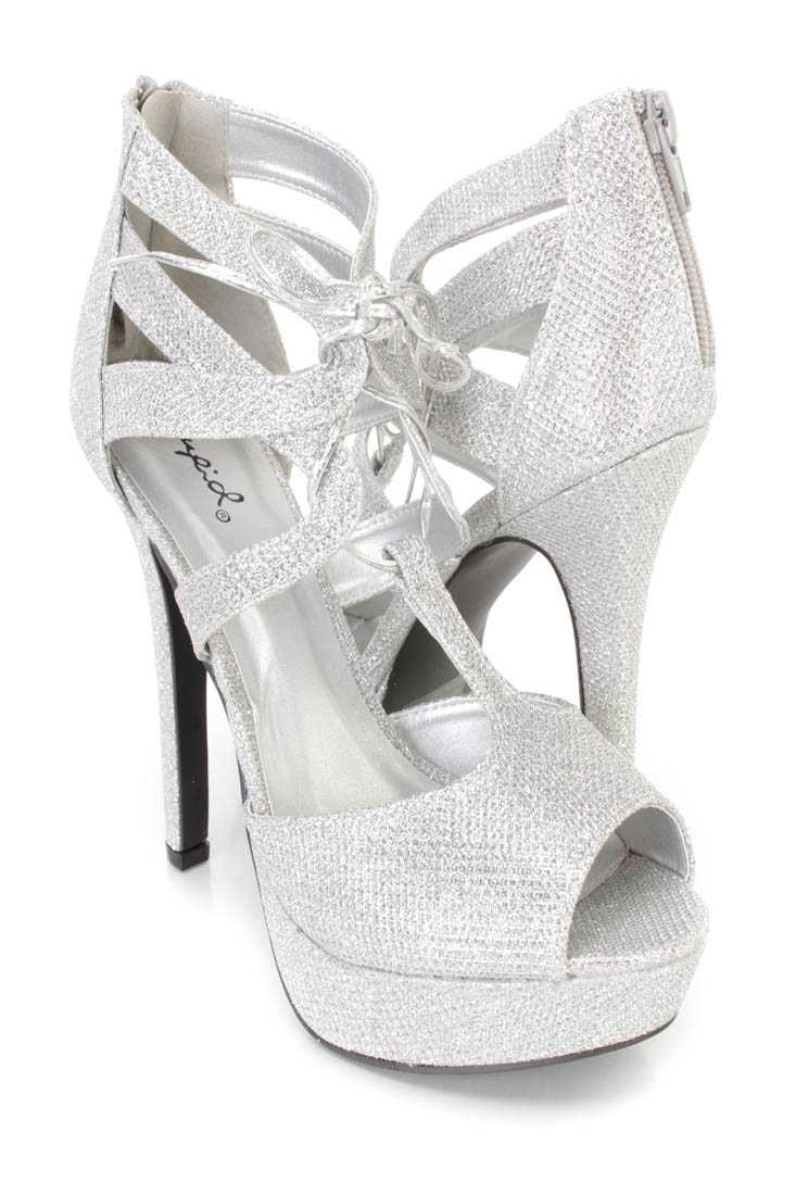 Silver Lace Up Peep Toe Platform High Heels Glitter