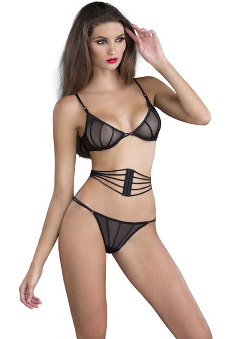 Black Strappy Design Sexy 3-Piece Undergarment Set
