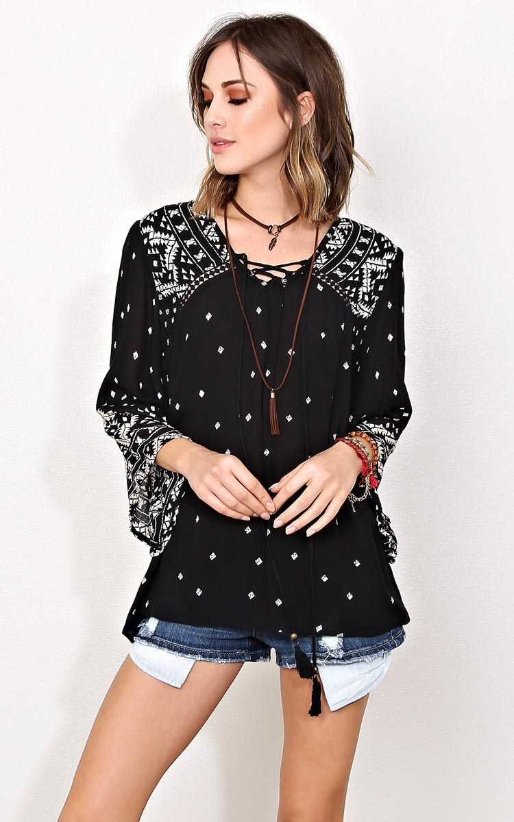 ANGIE Aztec Appeal Woven Gauze Top - MED - Black Combo in Size Medium by Styles For Less