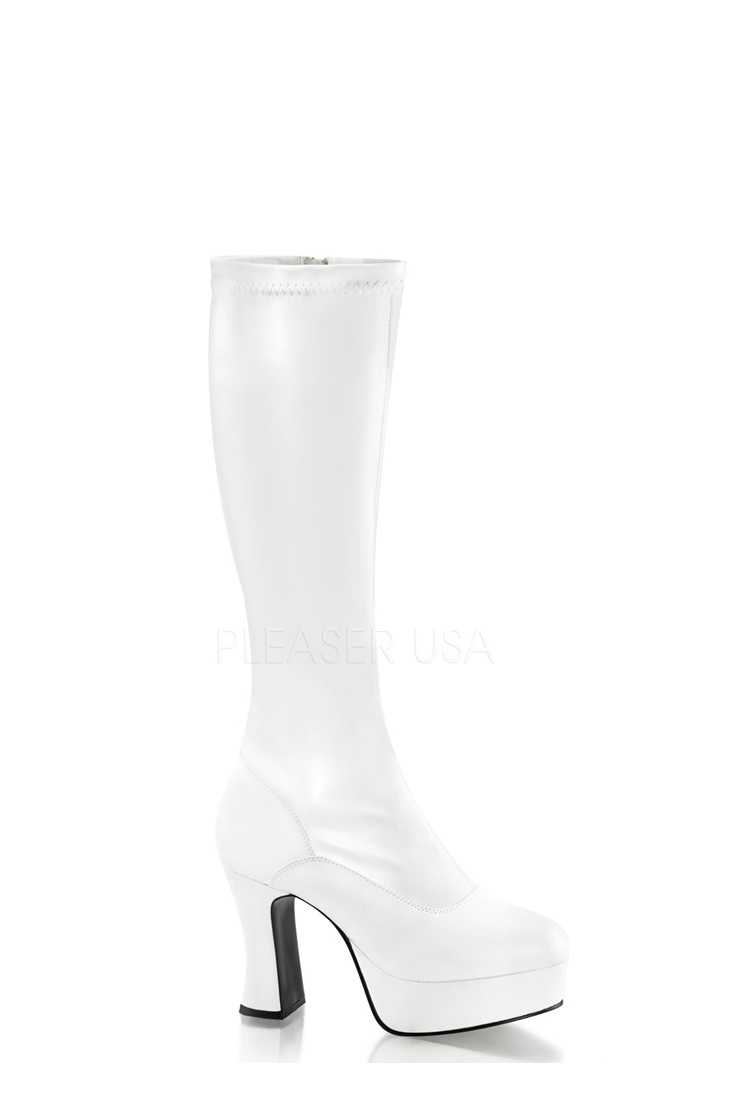 White Chunky Platform GoGo Boots Faux Leather