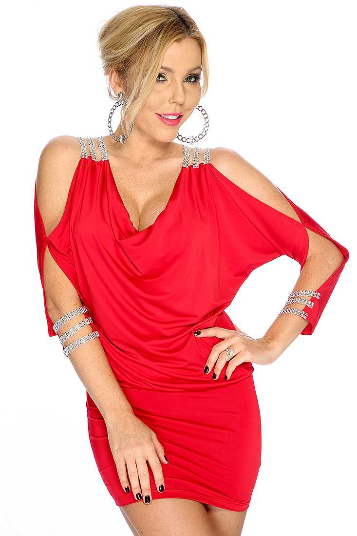 Red Draped Front Banded Sexy Dress
