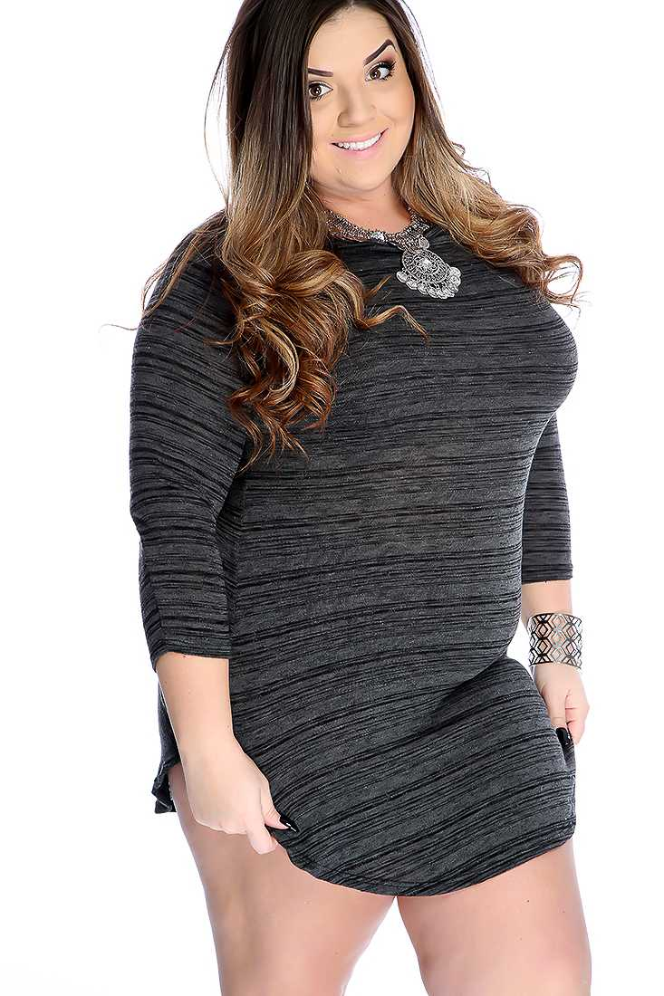 Sexy Black Long Sleeve Side Slit Casual Plus Size Dress