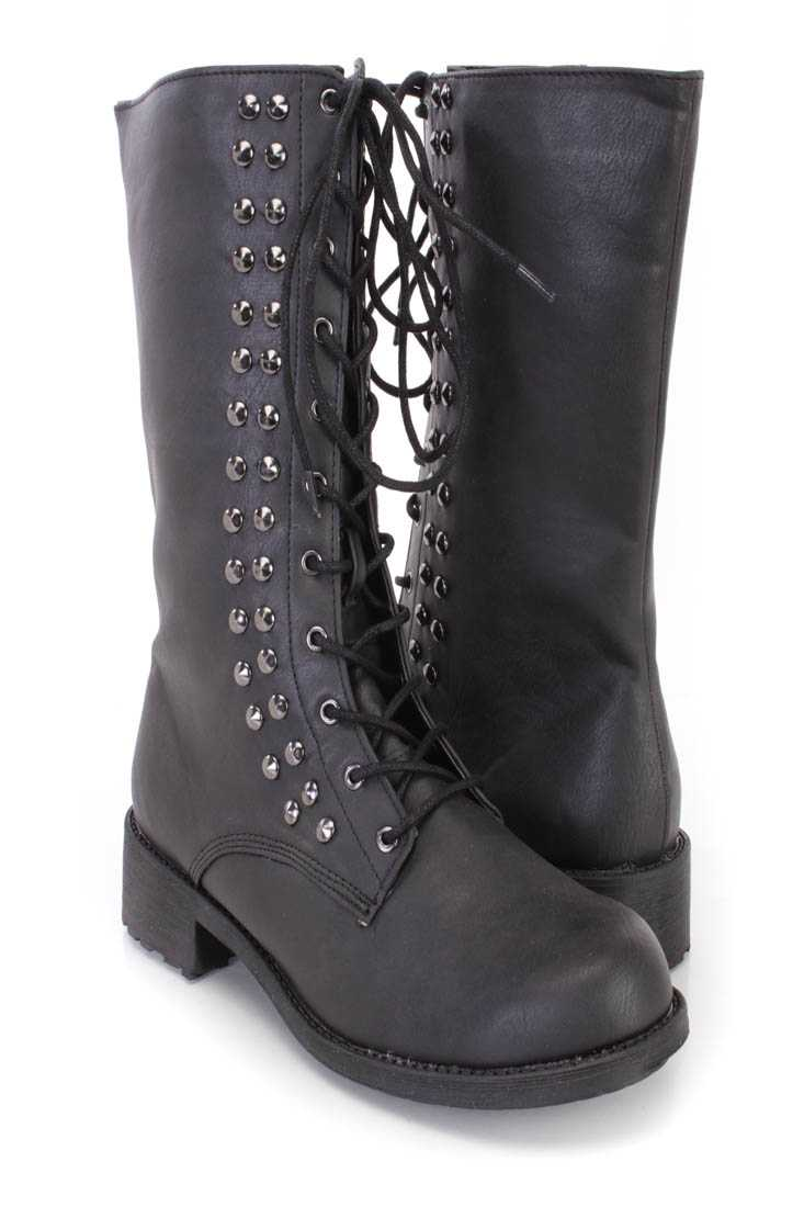 Black Lace Up Studded Mid Calf Boots Faux Leater