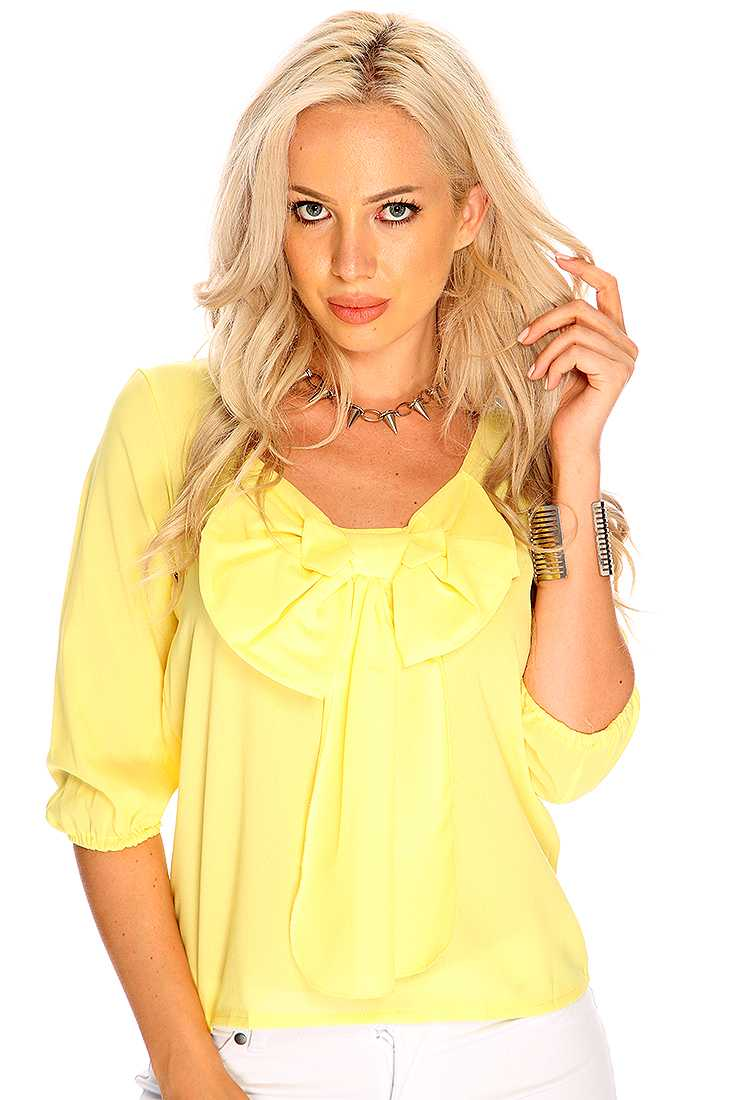 Yellow Bow Accent Quarter Sleeve Cute Top