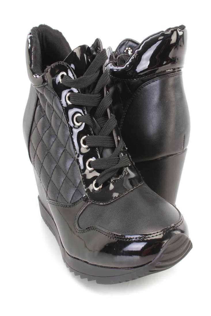 Black Quilted Lace Up Sneaker Wedges Faux Leather