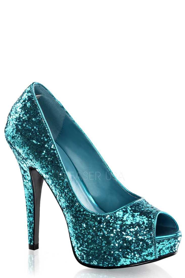 Turquoise Peep Toe Platform Pump High Heels Glitter