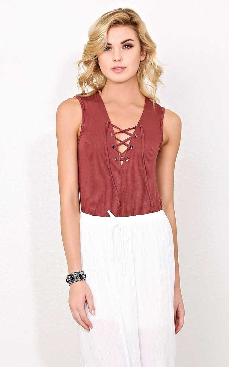 Portland Lace up Tank - MED - MARSALA in Size Medium by Styles For Less