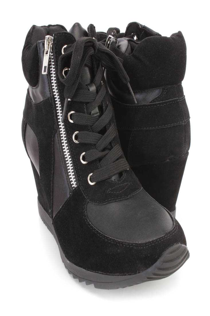 Black Lace Up Sneaker Wedges Faux Suede Leather