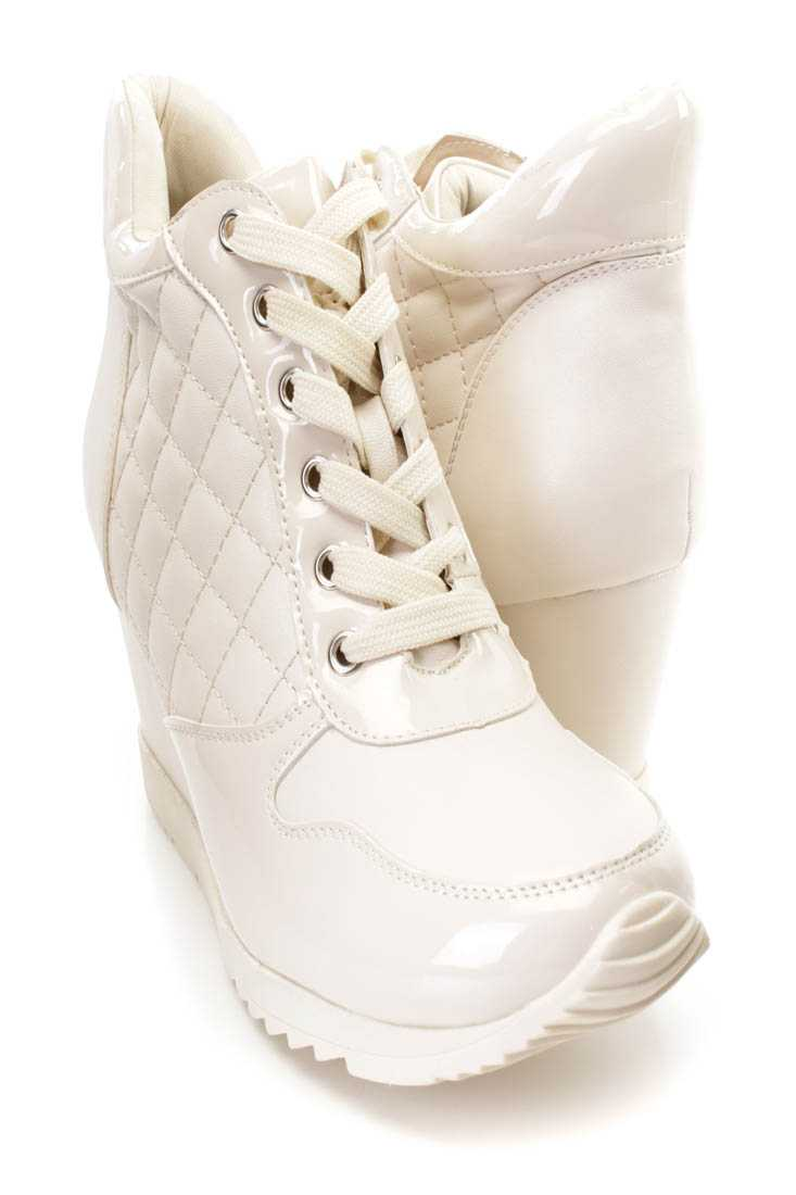 Beige Quilted Lace Up Sneaker Wedges Faux Leather