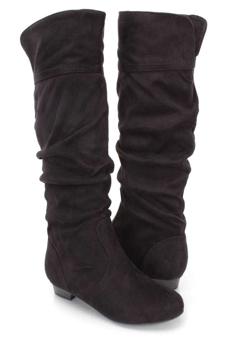 Black Slouchy Casual Flat Boots Faux Suede