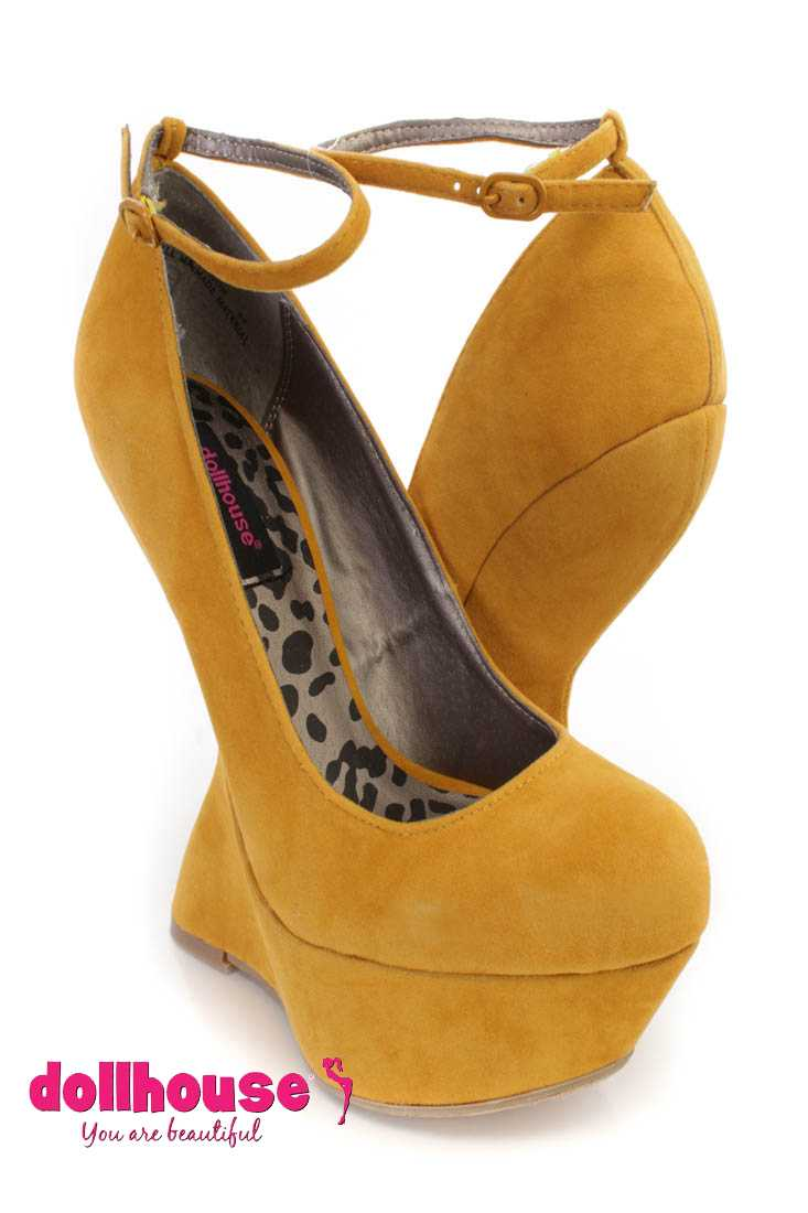 Mustard Ankle Strap Platform Curved Wedges Faux Suede