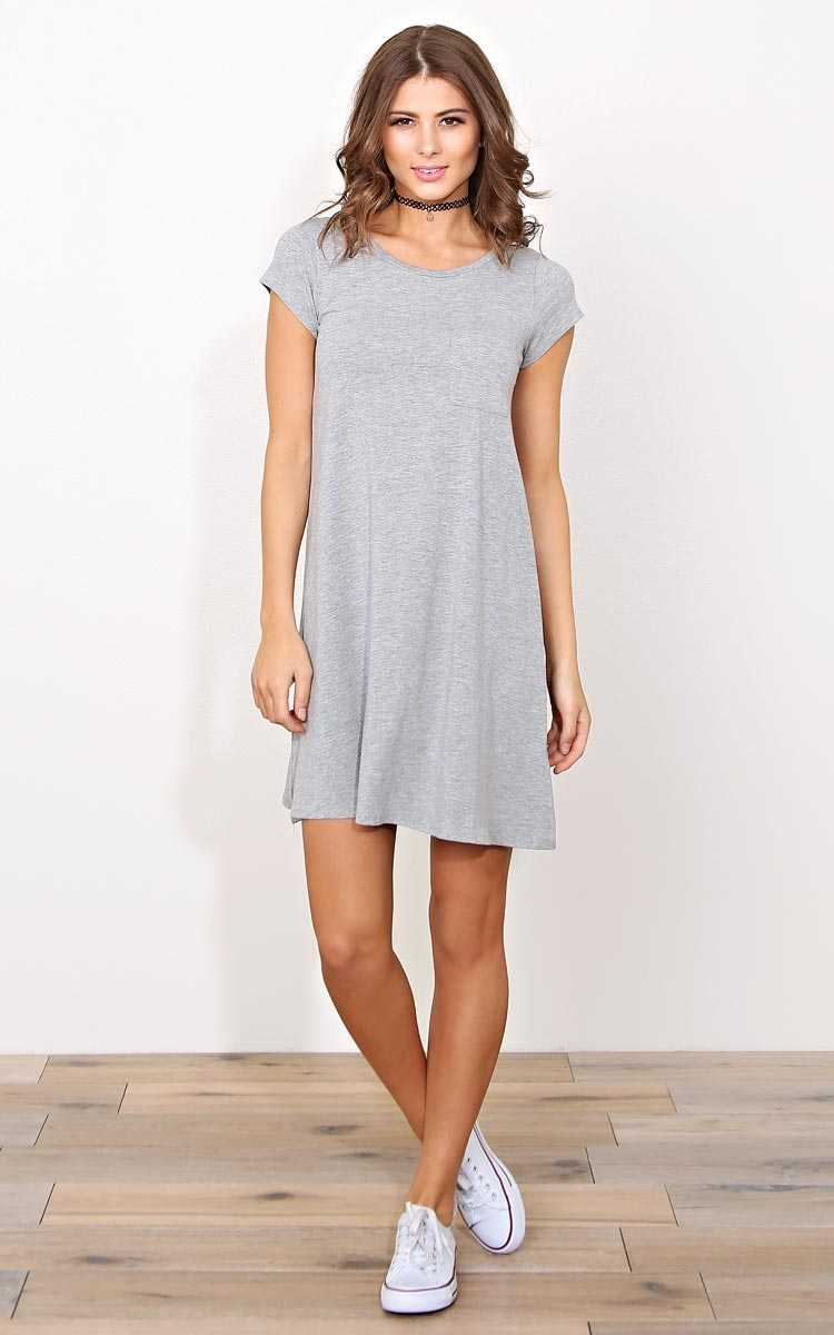 Day Trip Knit T Shirt Dress - SML - Heather in Size Small by Styles For Less
