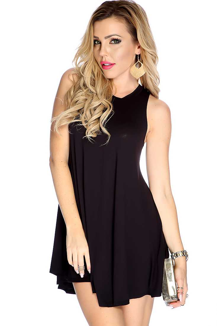 Sexy Black Sleeveless Racer Back Casual Dress