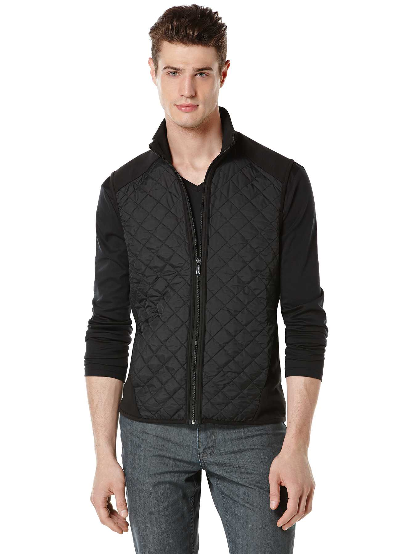Perry Ellis Big and Tall Quilted Mix Media Vest