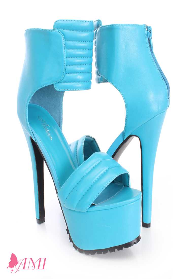 Neon Blue Strap Platform High Heels Faux Leather