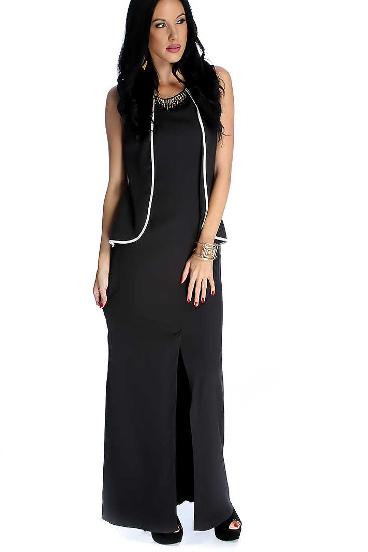 Black Sleeveless Front Slit Casual Maxi Dress