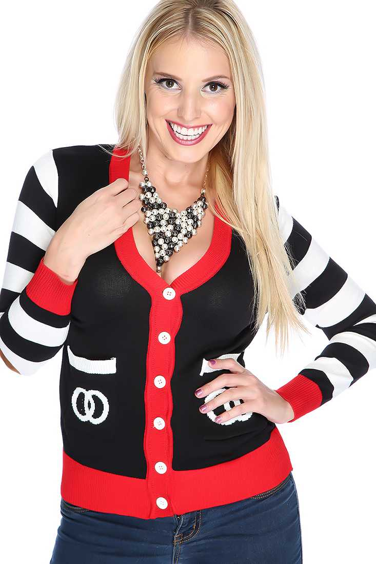 Cute Black White Red Button Up Sweater