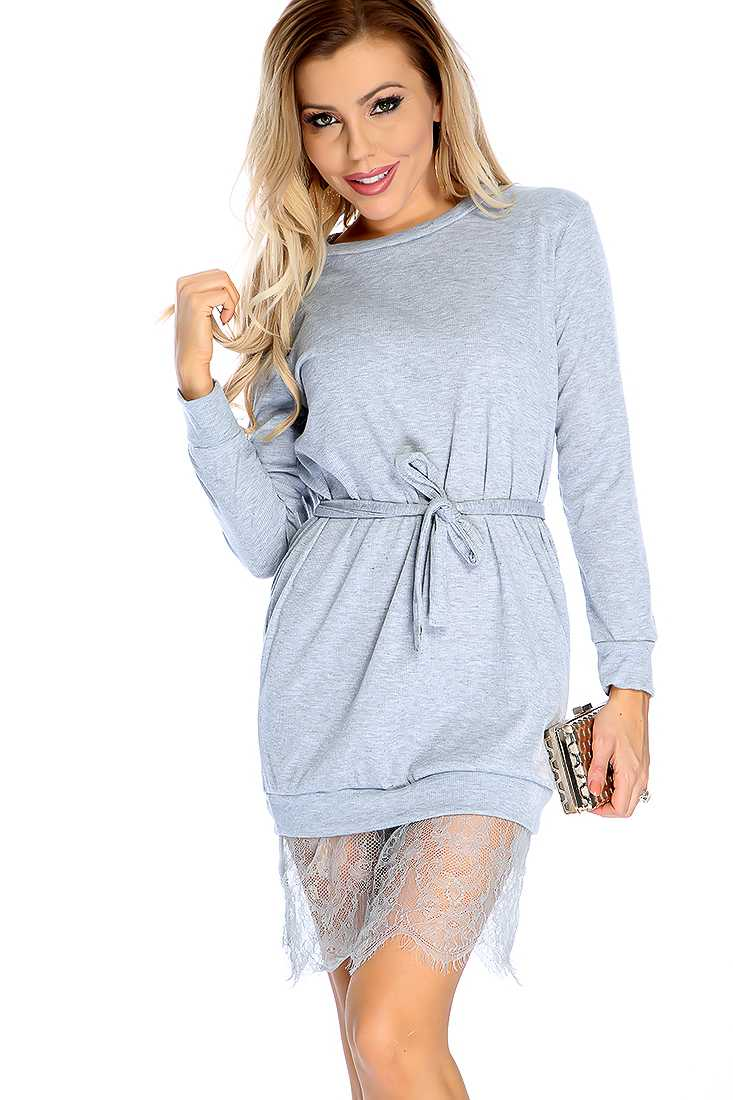 Sexy Grey Long Sleeve Fitted Dress
