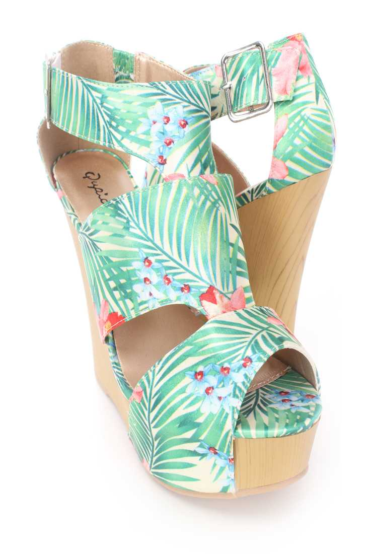 Green Printed Strappy Platform Wedges Satin