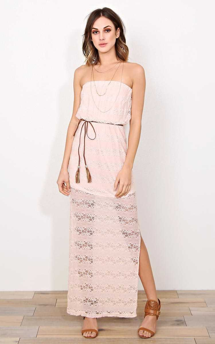 Harmony Lace Maxi Dress - - Dusty Rose in Size by Styles For Less