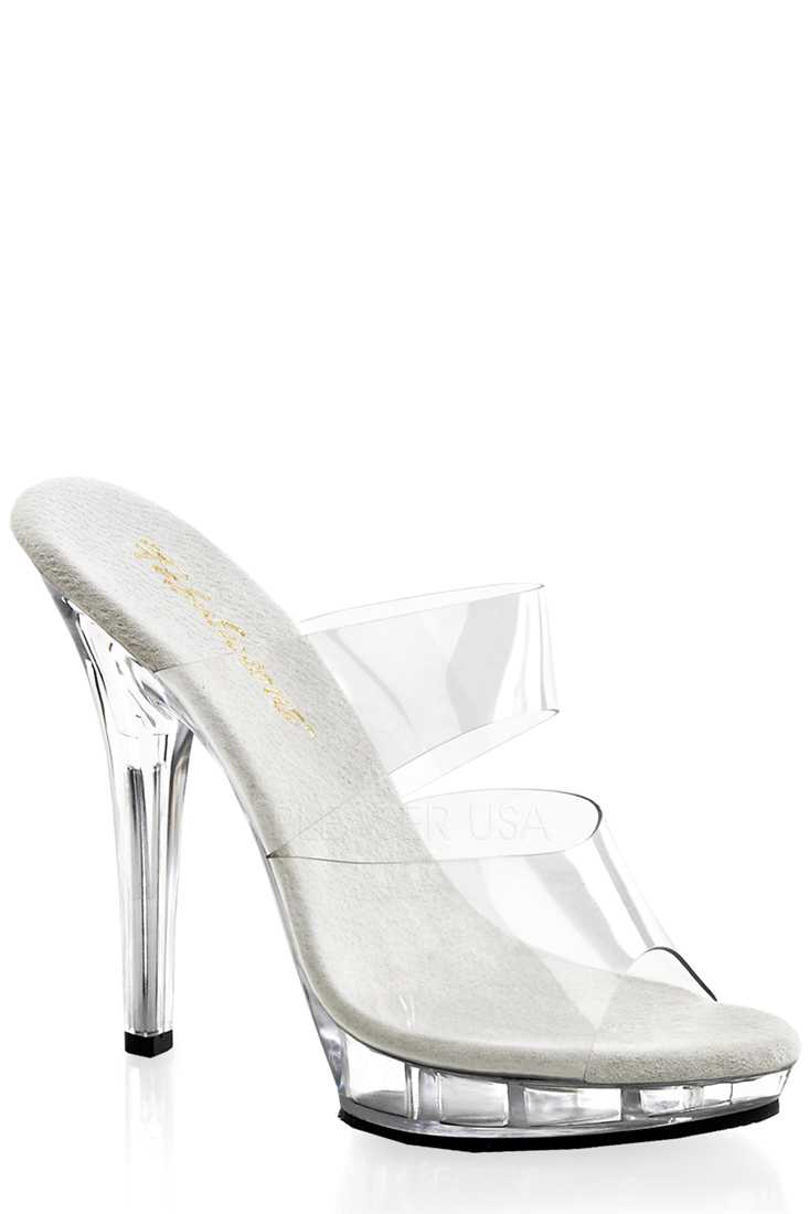 Clear Double Strap Slip On High Heels PVC