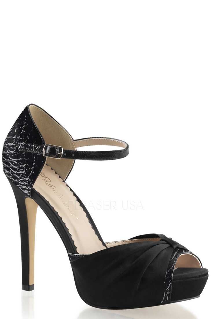 Black Open Toe Ankle Strap High Heels Patent Satin