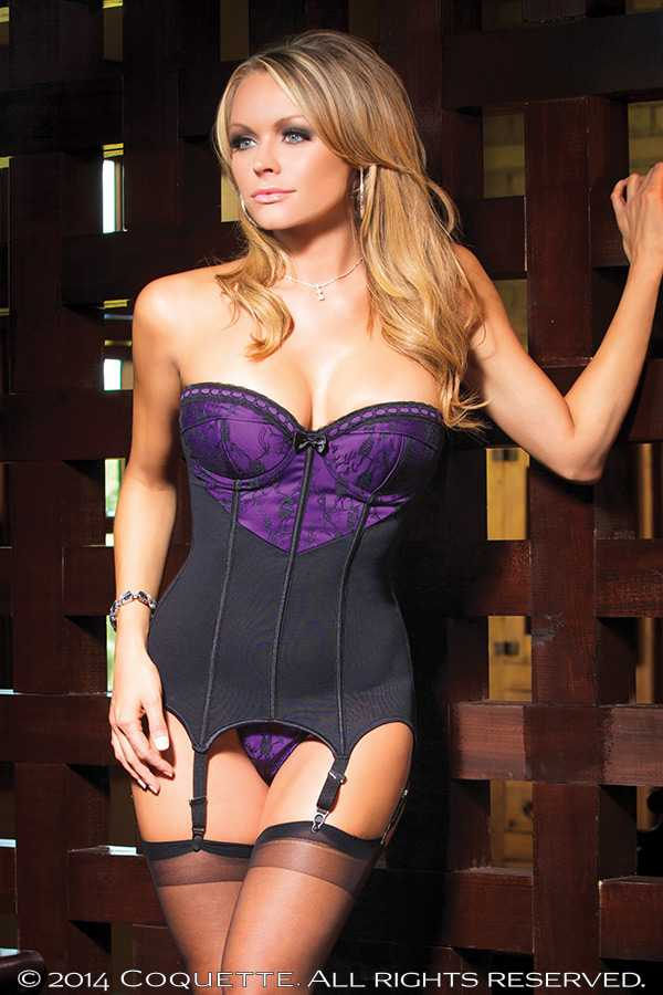 BLACK PURPLE FLORAL SATIN HEART SHAPED INTIMATE BUSTIER SET