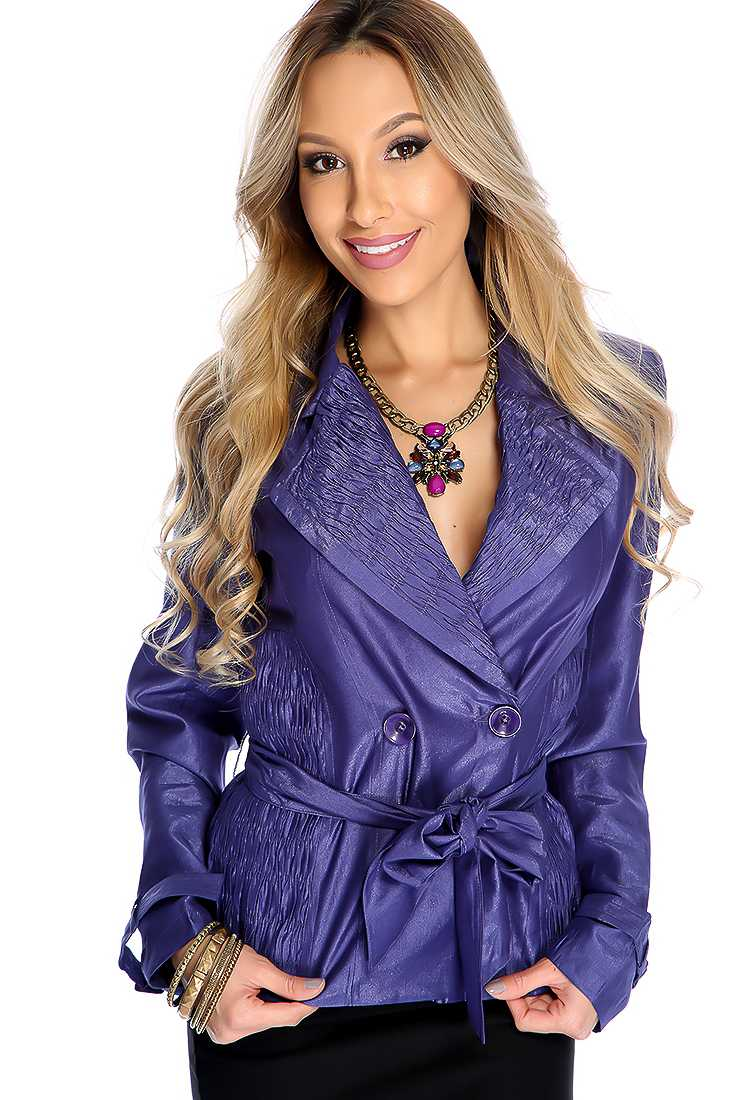 Cute Violet Double Breasted Belted Fall Coat