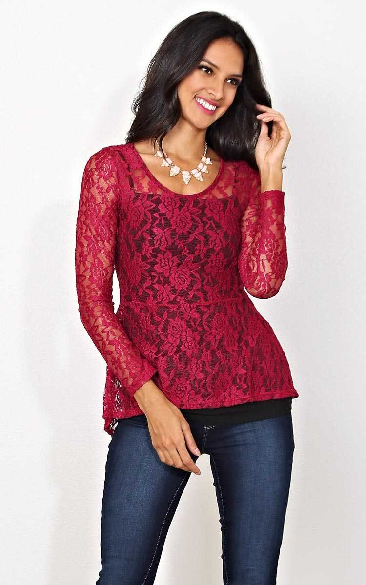 Kayla Lace Peplum Top - - Burgundy in Size by Styles For Less
