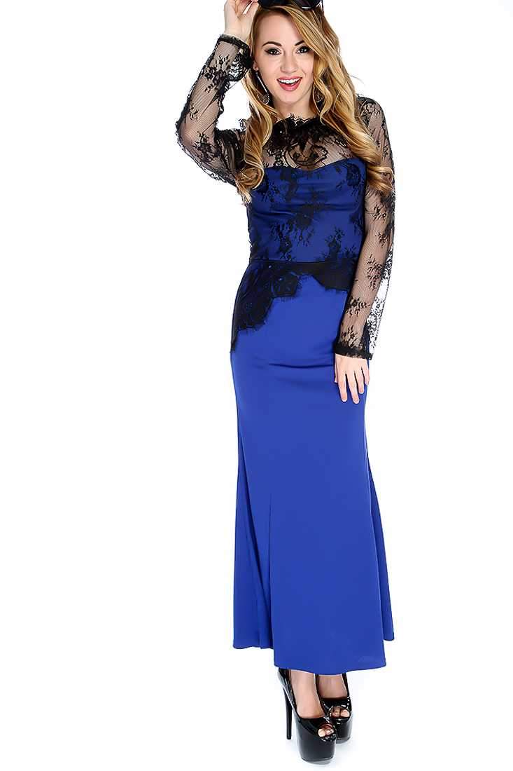 Sexy Royal Blue Black Floral Lace Maxi Dress