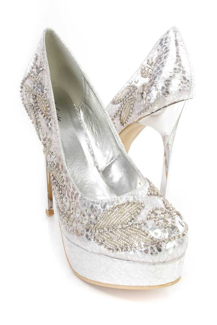Silver Beaded Detailed Pump Heels Faux Leather