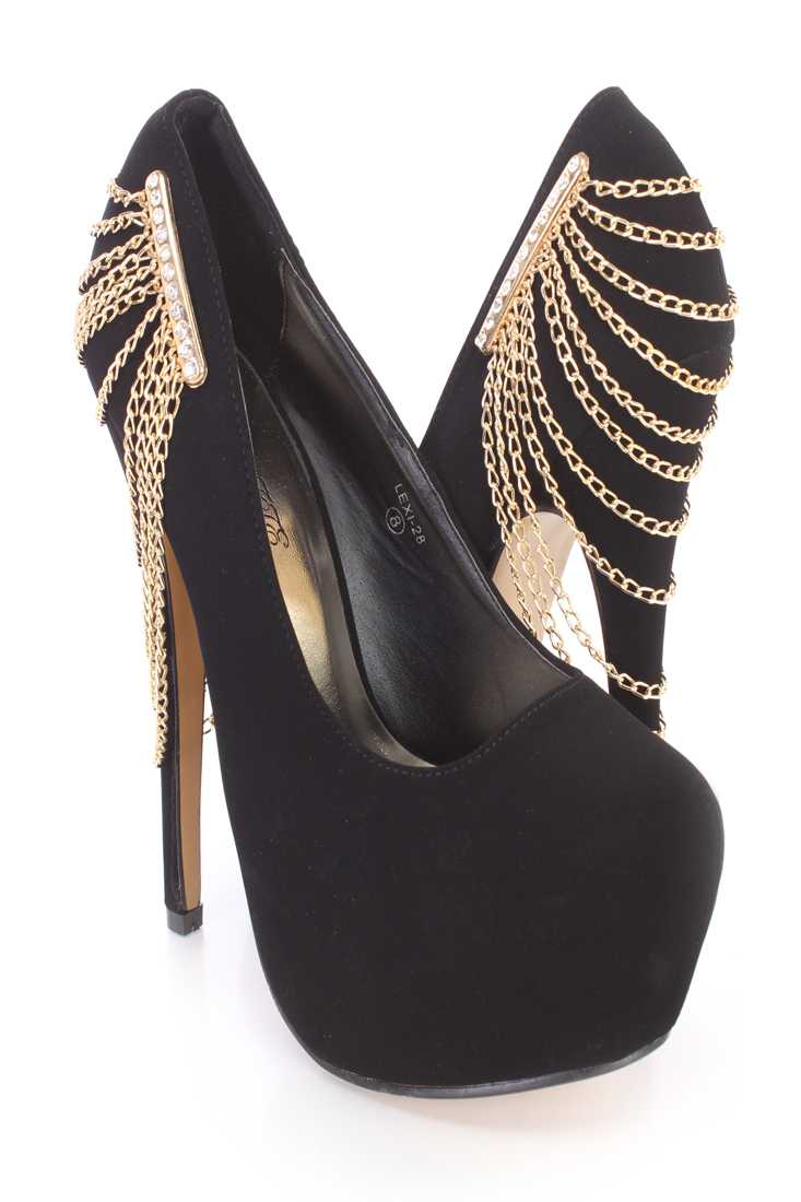 Black Chain Draped Platform Pump Heels Nubuck