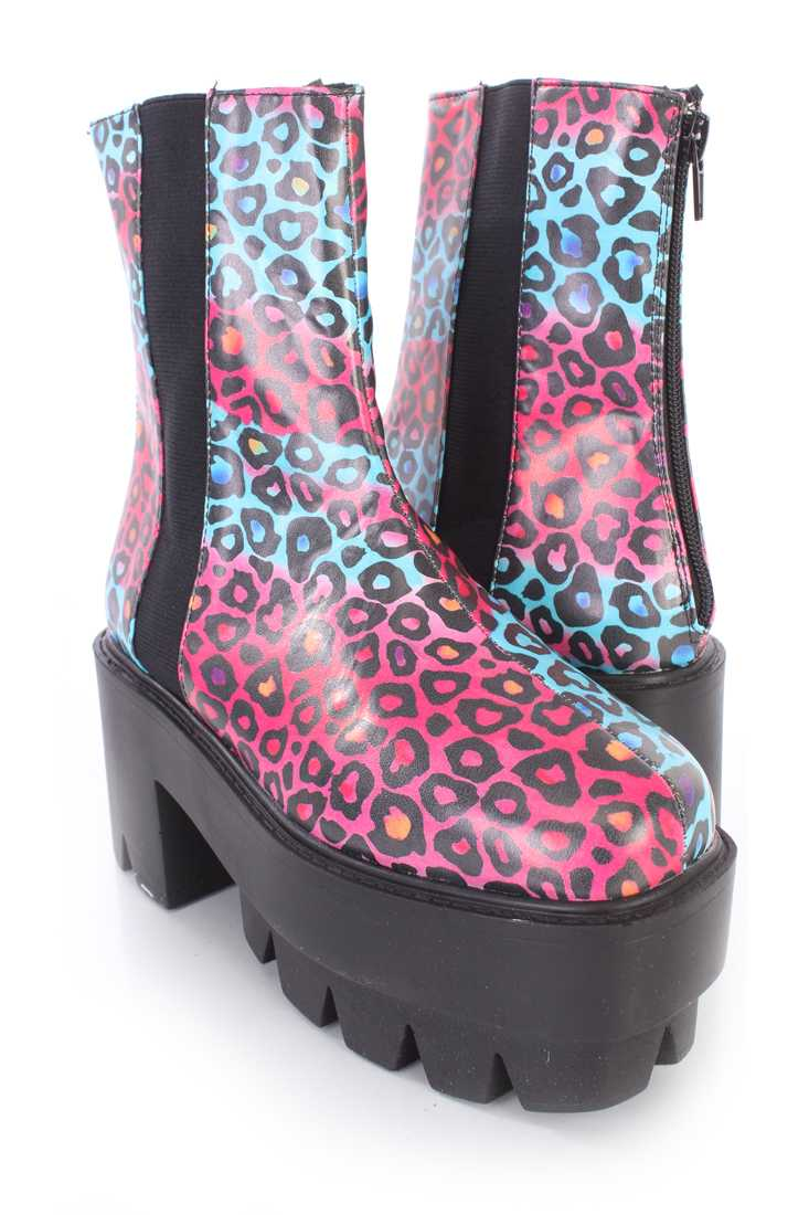 Blue Leopard Traction Sole Platform Booties Faux Leather