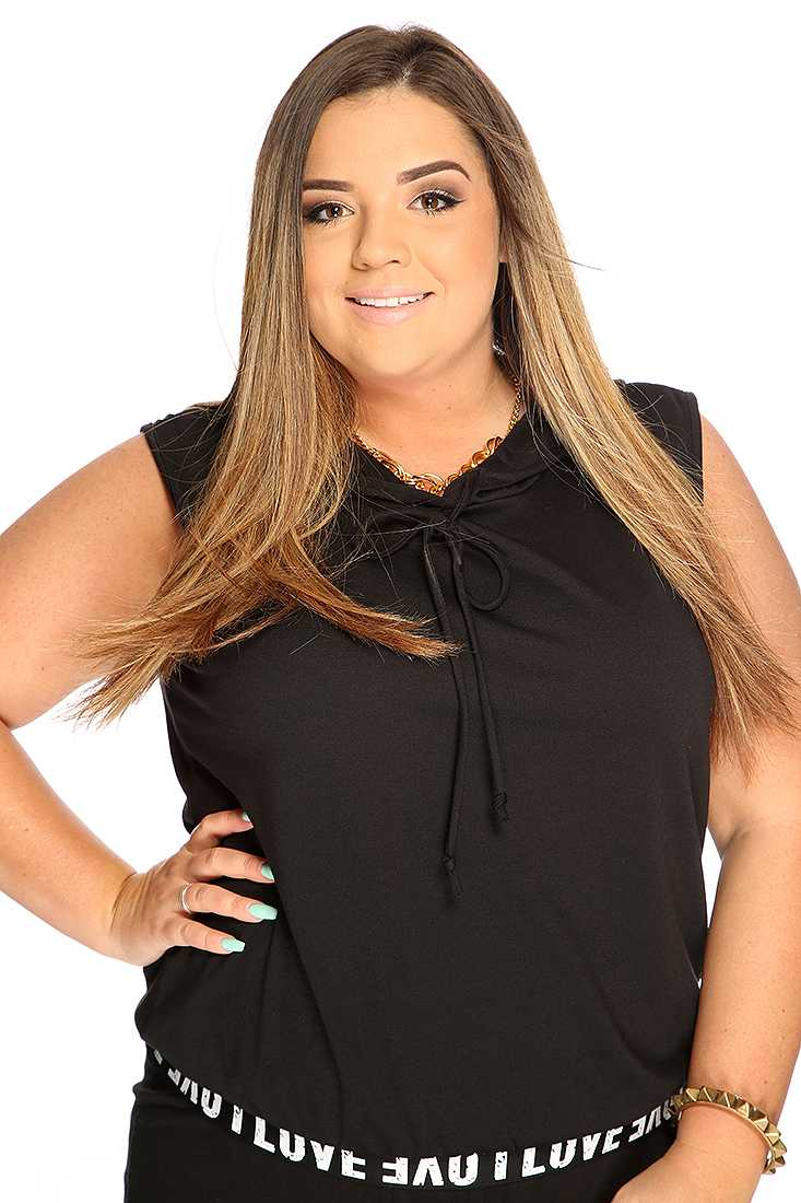 Black White Sleeveless Hooded Contrast Band Plus Size Top