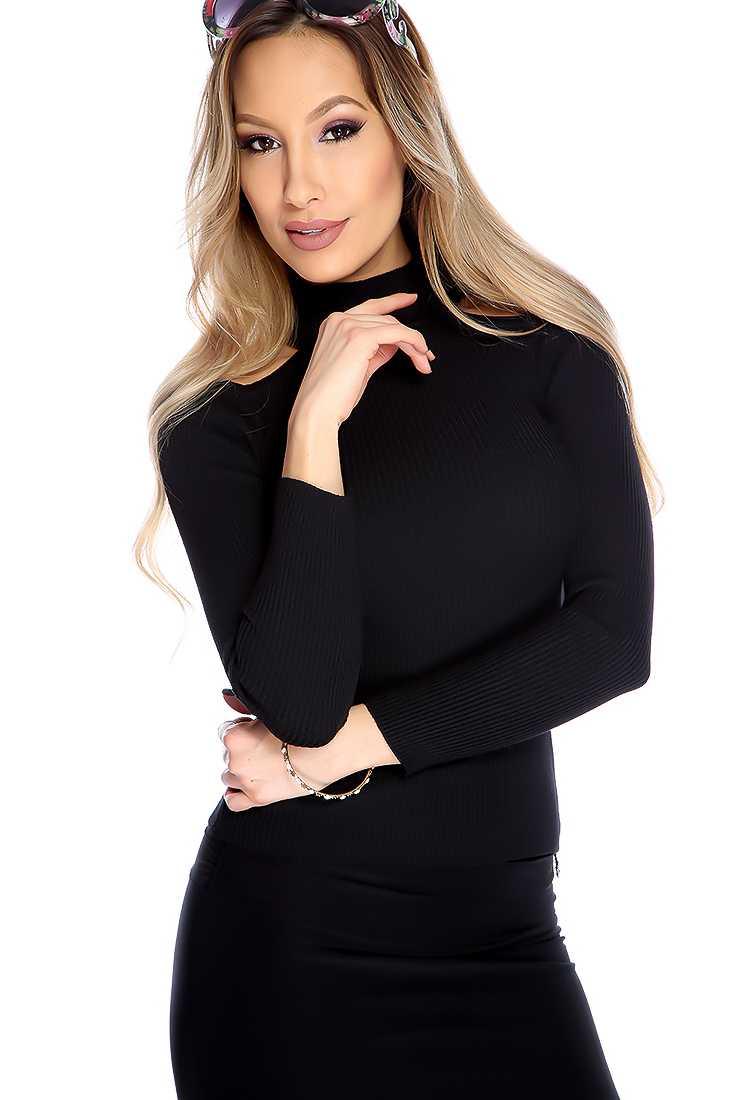 Casual Black Long Sleeves Shoulder Cutouts Top