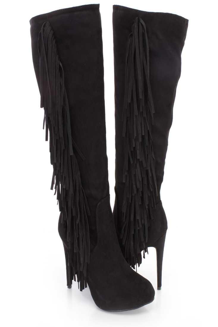 Black Side Fringe Knee High Boots Faux Suede