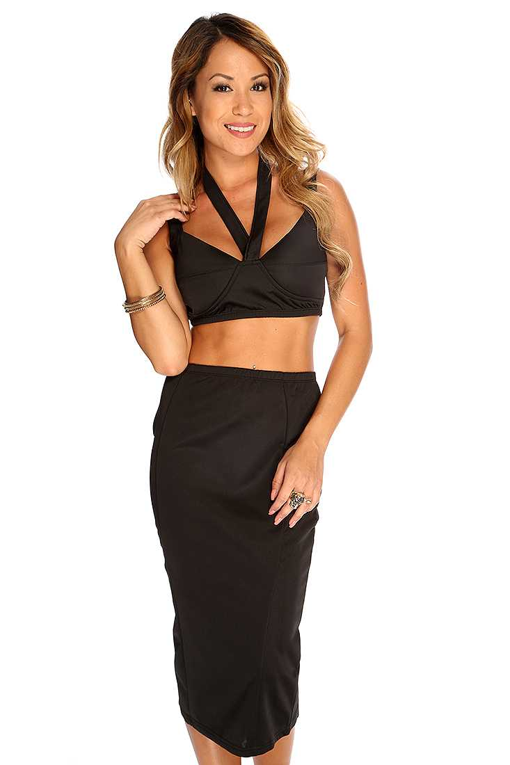 Black Strappy Decor Sexy 2 Piece Dress