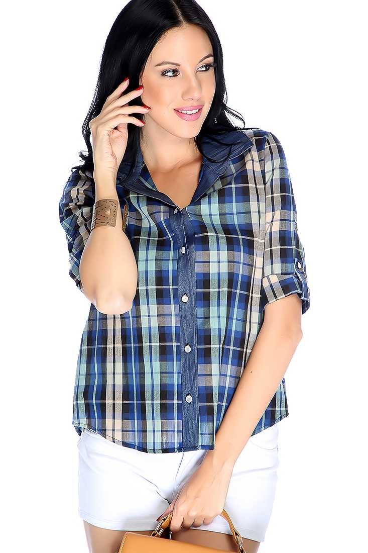 Stylish Blue Long Sleeve Plaid Button Up Casual Top