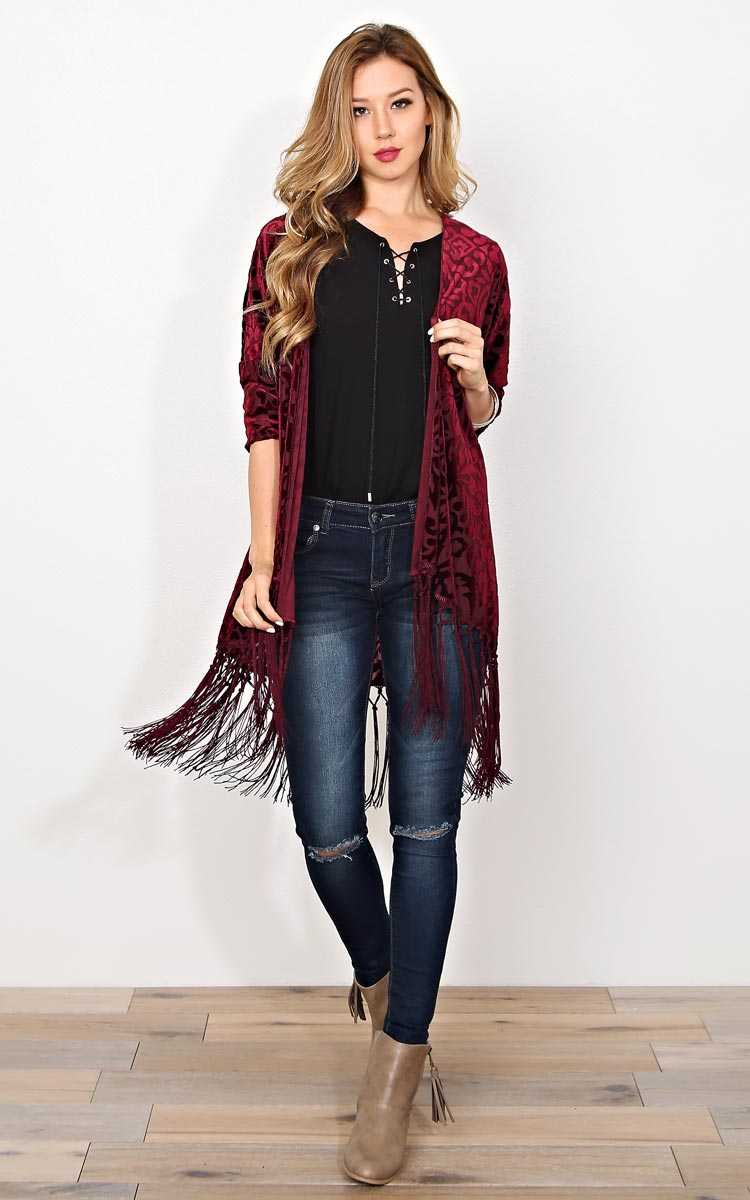 Majestic Times Knit Wrap - - Burgundy in Size by Styles For Less