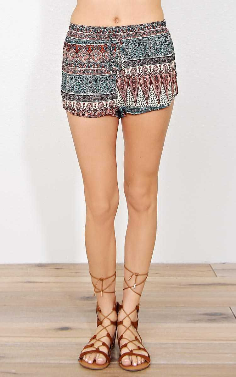 Boho Heat Woven Shorts - - Taupe Combo in Size by Styles For Less
