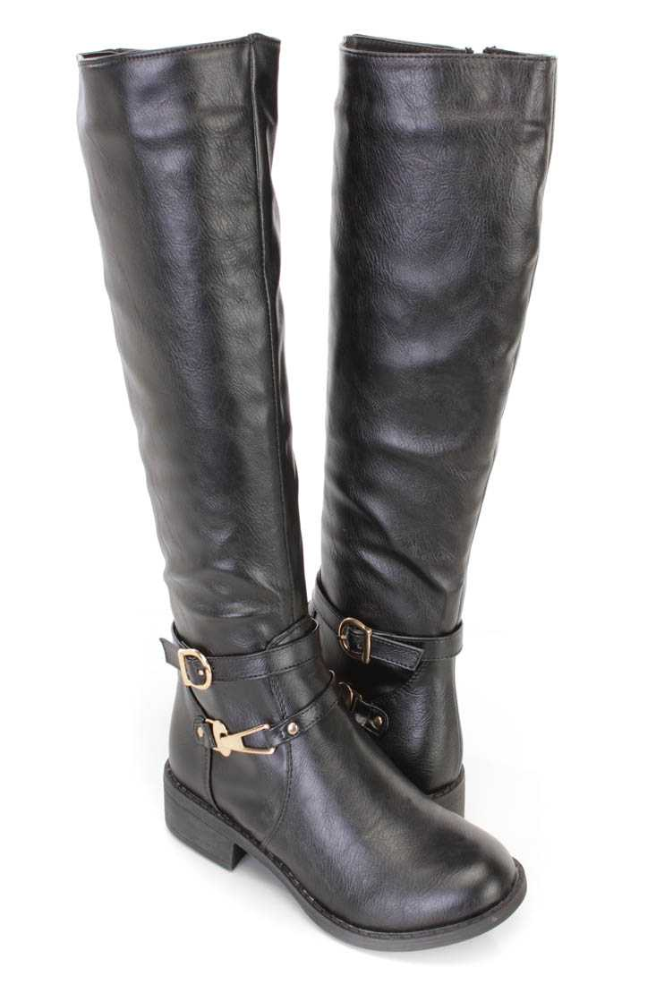 Black Strappy Flat Riding Boots Faux Leather