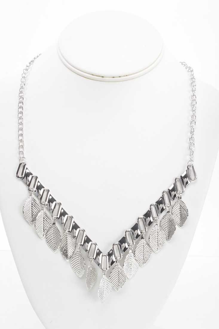Silver V-Shape Leaf Charm Necklace