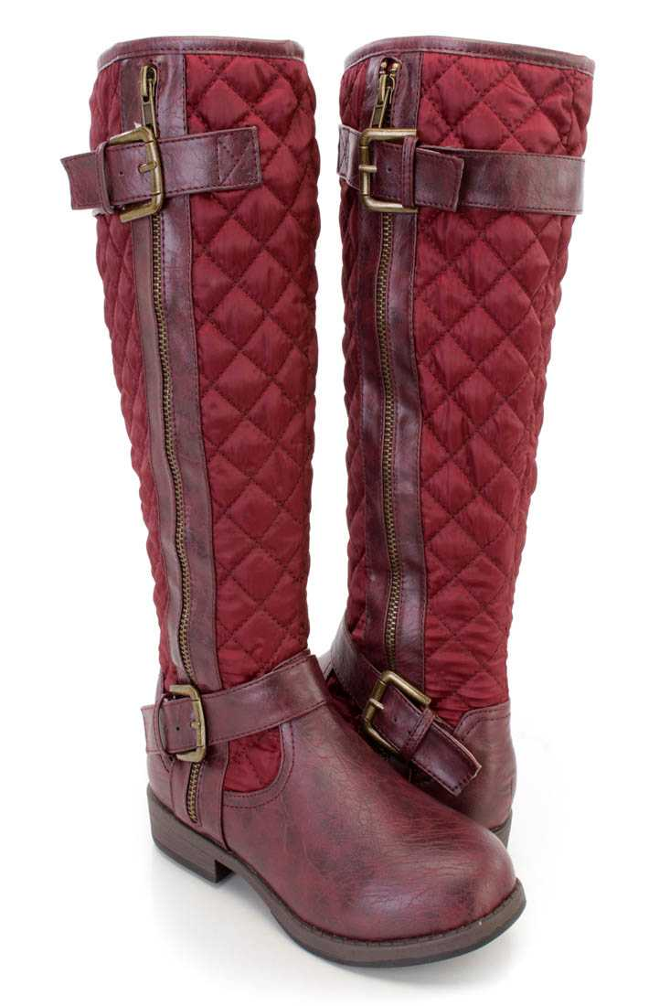 Wine Stitched Quilted Strappy Riding Boots Nylon