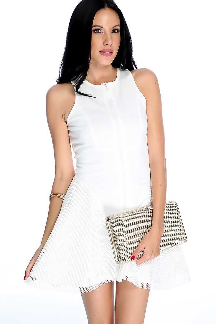 Sexy White Netted Zipper Accent Sleeveless Party Dress