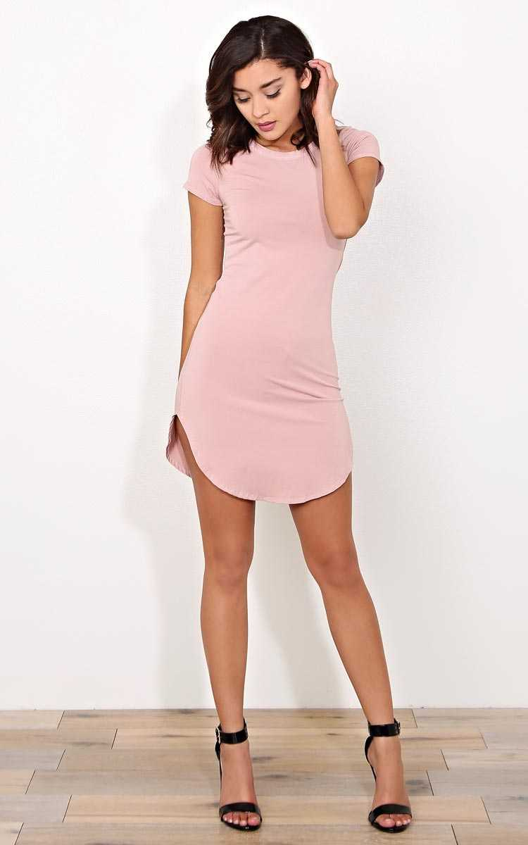 Mauve Scooped Knit T Shirt Dress - - Mauve in Size by Styles For Less